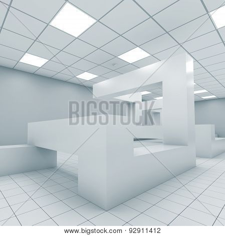 Office Interior With Chaotic Geometric Construction 3D