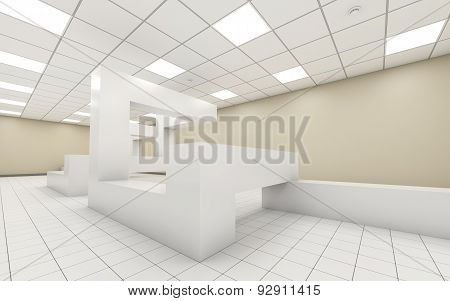 Abstract Bright Empty Office Room Interior 3D