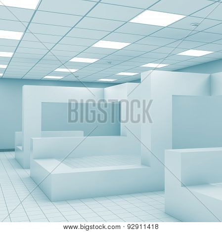 Abstract Monochrome Empty Office Room Interior 3 D