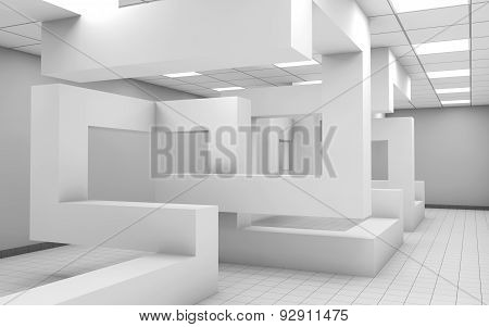 Office Interior With Geometric Installation, 3D