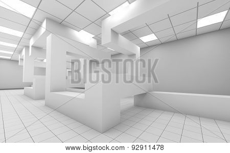 Abstract White Empty Office Interior 3D