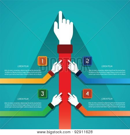 Abstract Vector Infographic Template In Flat Style For Layout Workflow Scheme, Numbered Options, Cha