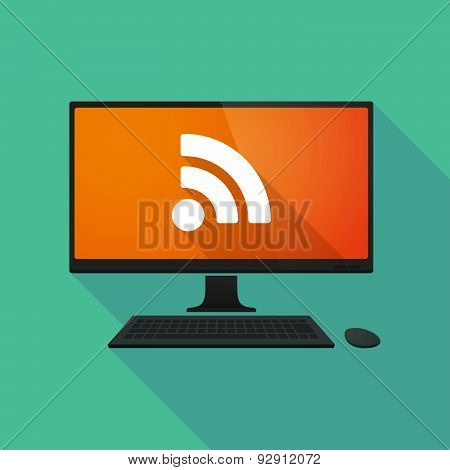 Personal Computer With A Rss Feed Sign