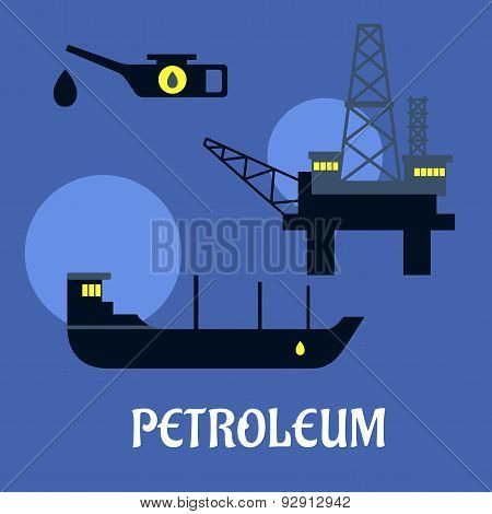 Petroleum industry flat infographics icons