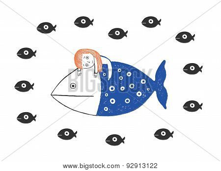 Little Girl And Fishes In The Sea, Hand Drawn Vector Illustration