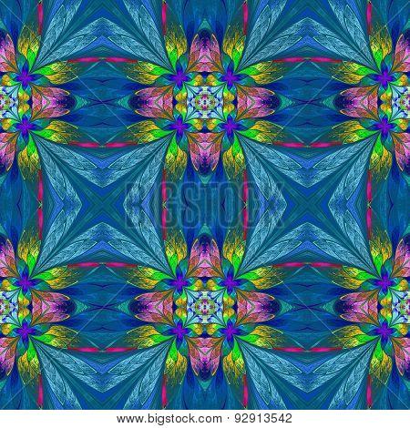 Symmetrical Multicolored Flower Pattern In Stained-glass Window Style On Blue Backgrownd.