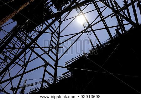 Construction Worker Silhouette On Scaffold