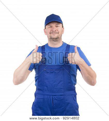 Man in blue gloves show ok sign.