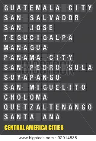 Names Of Central American Cities On Split Flap Flip Board Display