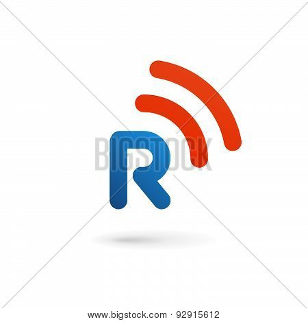 Letter R Wireless Logo Icon Design Template Elements