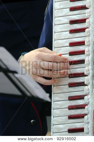 Hand Of A Woman Plays The Ancient Accordion