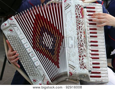 Hand Of A Young Woman Plays The Ancient Accordion