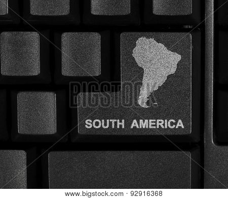 South America map on computer key
