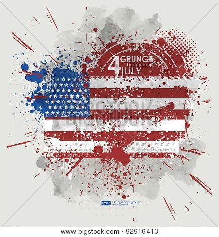 July fourth. Grunge background vector. Grunge print for t-shirt. Abstract dirt backgrounds texture.