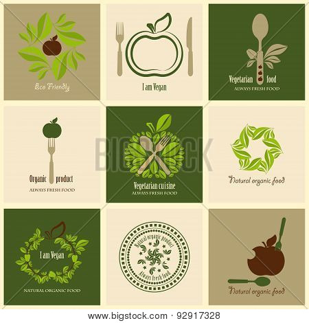 Set of icons organic products