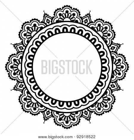 Indian Henna floral tattoo round pattern - Mendhi