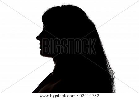 Portrait of curvy woman's silhouette in profile
