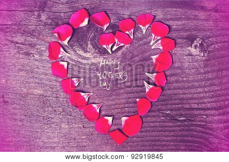 Vintage Mothers Day heart with petals