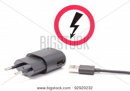 Electric Plug And Cable With High Voltage Danger Sign
