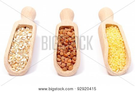 Buckwheat, Millet And Barley Groats With Wooden Spoon. White Background