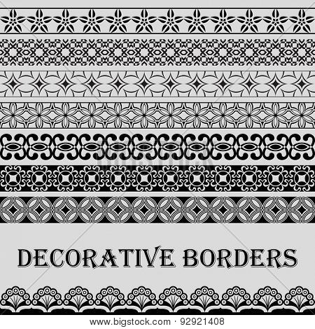 Seamless vintage black and white decorative vector border ornament.