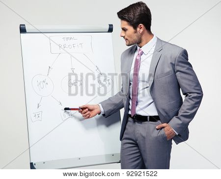 Handsome businessman making presentation on flipchart over gray background