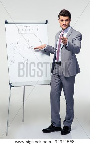 Full length portrait of a confident businessman making presentation on flipchart over gray background