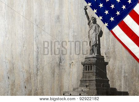 Flag Of The United States Of America With Statue