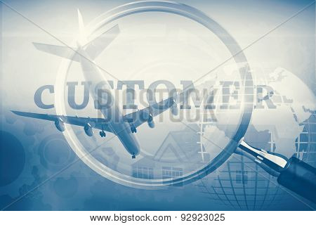 Graphic airplane against magnifying glass showing customer word