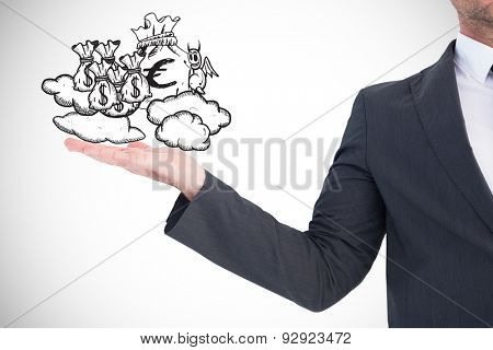 Businessman with his hand out against white background with vignette