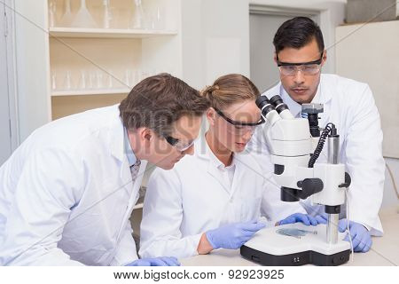 Concentrated scientists working together with microscope in laboratory
