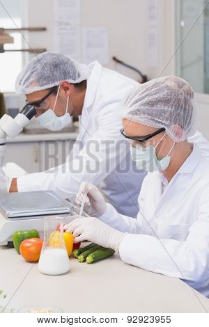 Scientist doing experimentation on vegetables in the laboratory