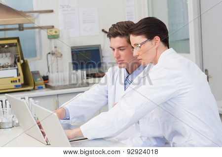 Scientists working attentively with laptop in laboratory