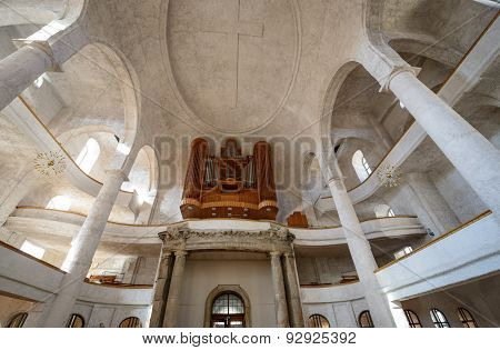 Interior Of Creuzkirche In Dresden, Saxony, Germany.