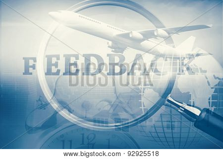 Graphic airplane against magnifying glass showing feedback word