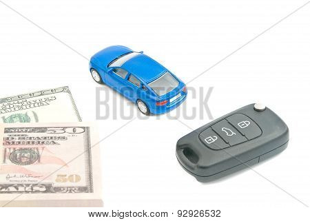 Blue Car, Car Keys And Dollar Banknotes
