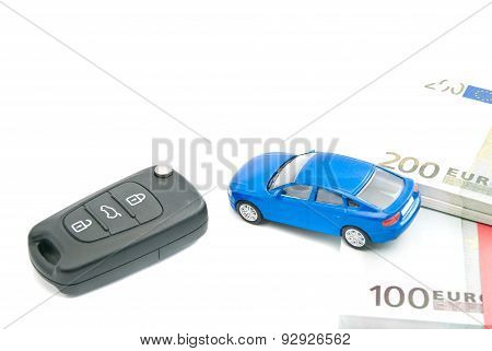 Black Car Keys, Blue Car And Euro Notes
