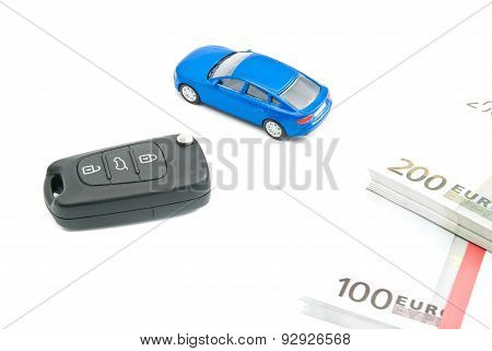 Car Keys, Blue Car And Euro Notes