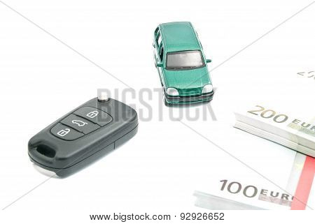 Green Car, Car Keys And Euro Notes