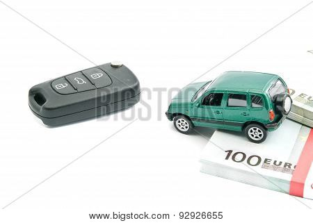 Green Car, Car Keys And Euro Banknotes