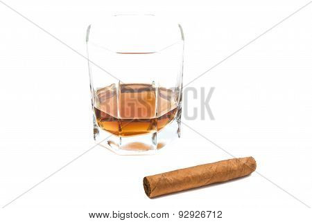Cigar And Glass Of Cognac