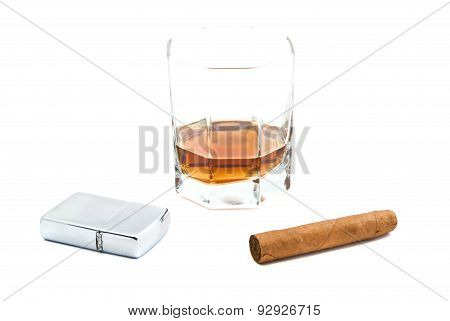Glass Of Cognac, Cigar And Lighter