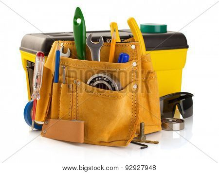 tools and instruments in belt isolated on white background