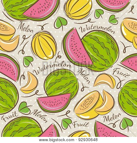 Pattern With Melon And Watermelon