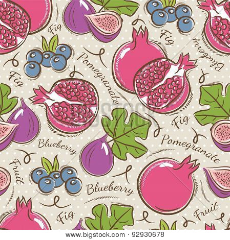 Background With  Pomegranate, Fig And Blueberry