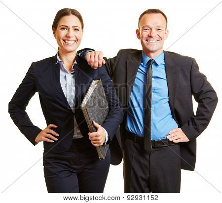 Two business consultants as team in suits with folder