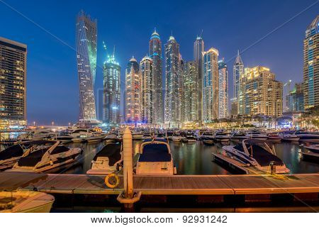 Dubai - JANUARY 10, 2015: Marina district on January 10, 2015 in UAE, Dubai. Marina district is popular residential area in Dubai