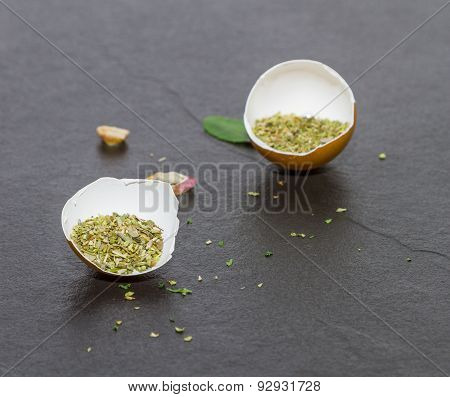 Oregano Spices And Herbs In Metal Bowls. Food And Cuisine Ingredients. Colorful Natural Additives.