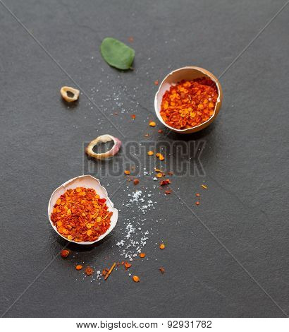 Chili Spices And Herbs In Metal Bowls. Food And Cuisine Ingredients. Colorful Natural Additives.