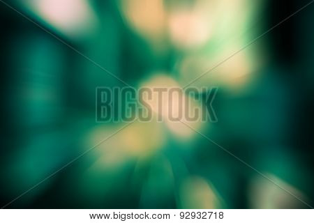 Burst Zoom Of Bokeh Light In Gradient Green And Yellow Background